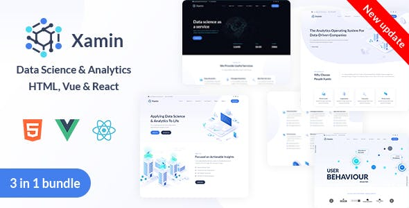 Xamin Data Science & Analytics HTML, Vue & React Template