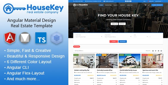 HouseKey - Angular Material Design Real Estate Template