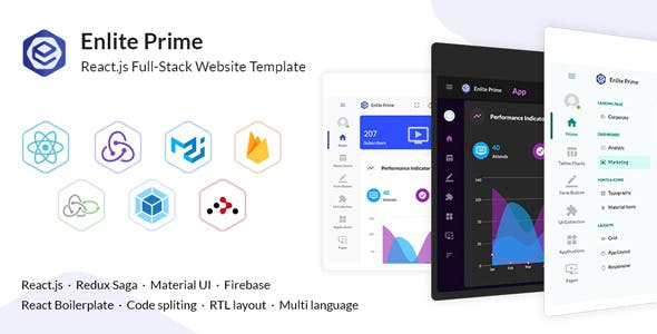Enlite Prime - React Admin Dashboard Template For Full-Stack Developer
