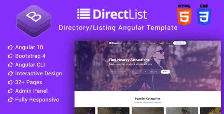 Directlist - Directory & Listing Angular 10 Template