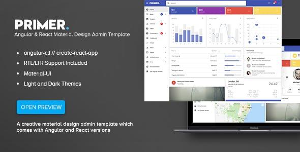 Primer - Angular & React Material Design Admin Template